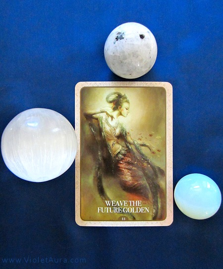 A single oracle card was drawn for the Air Sign full moon reading this month. The result is #44 Weave the Future Golden.